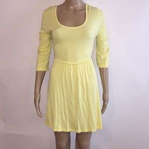 EUC ASOS fit and flare yellow skater dress Sz 16